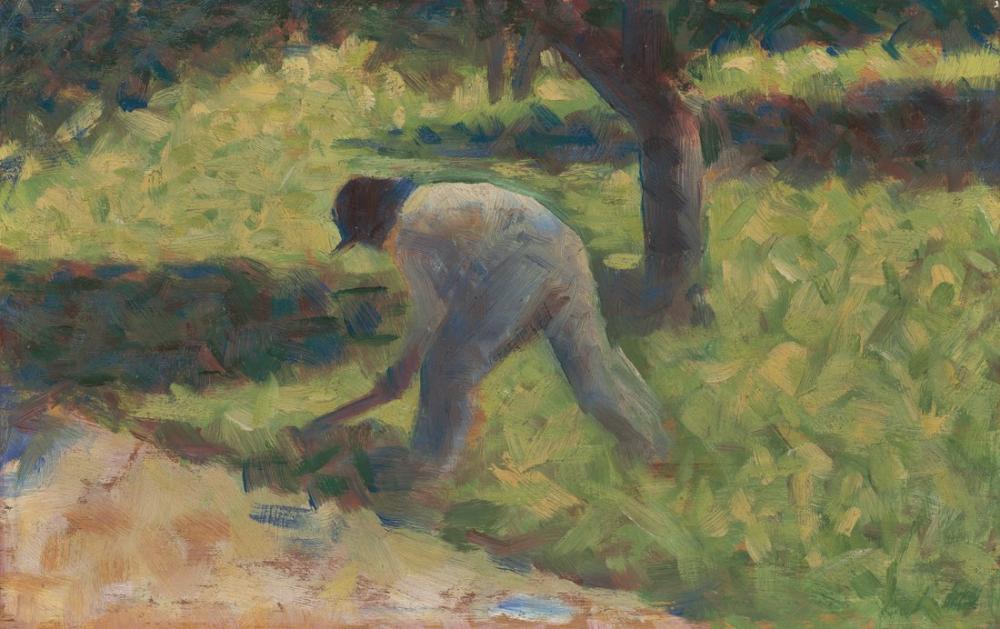 Georges Seurat, Bir Çapa ile Köylü Resmi, Figür, Georges Seurat, kanvas tablo, canvas print sales