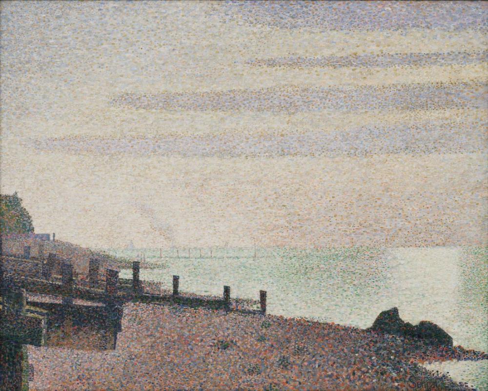 Georges Seurat, Pierre Honfleur Bir Akşam Seine Ağzı, Kanvas Tablo, Georges Seurat, kanvas tablo, canvas print sales
