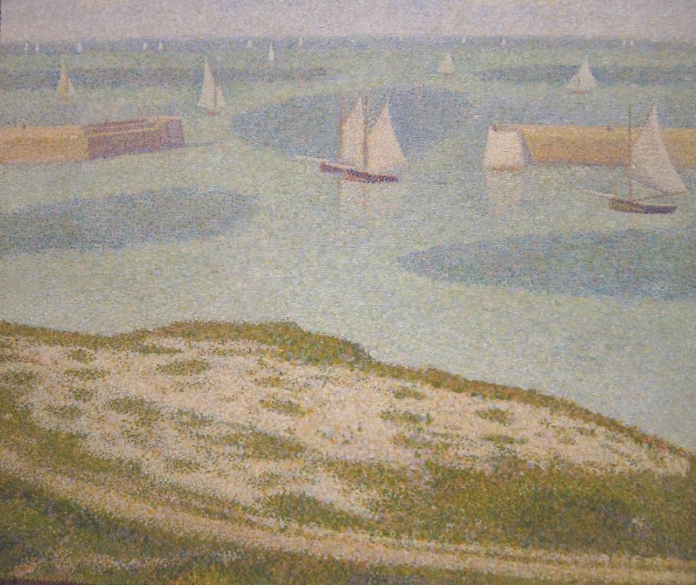 Georges Seurat, Port en Bessin Limana Giriş, Kanvas Tablo, Georges Seurat, kanvas tablo, canvas print sales