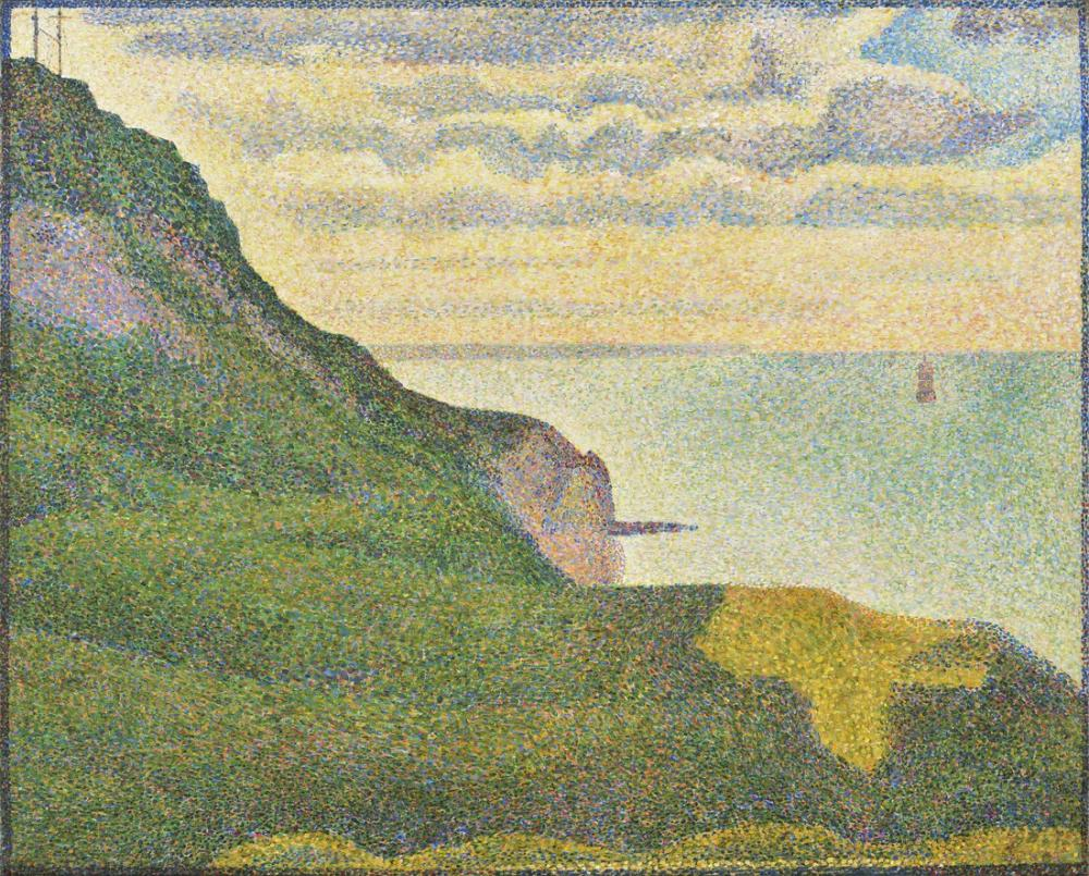 Georges Seurat, İskele ve Bessin Normandy Deniz Manzarası, Kanvas Tablo, Georges Seurat, kanvas tablo, canvas print sales