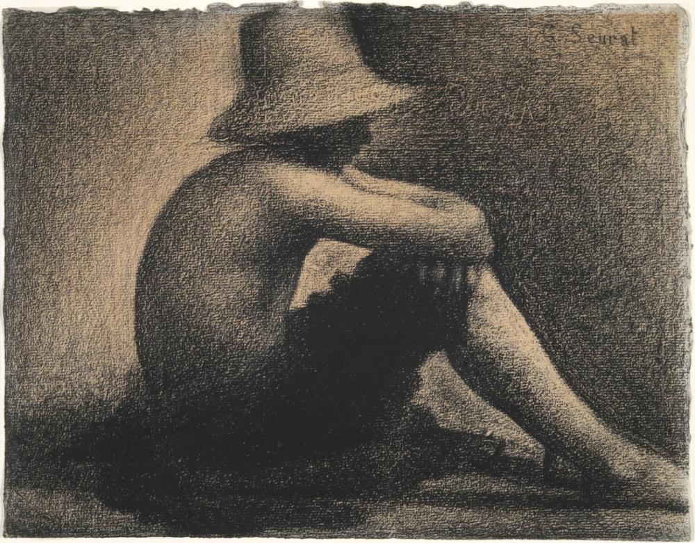Georges Seurat, Hasır Şapka ile Oturan Çocuk, Figür, Georges Seurat, kanvas tablo, canvas print sales