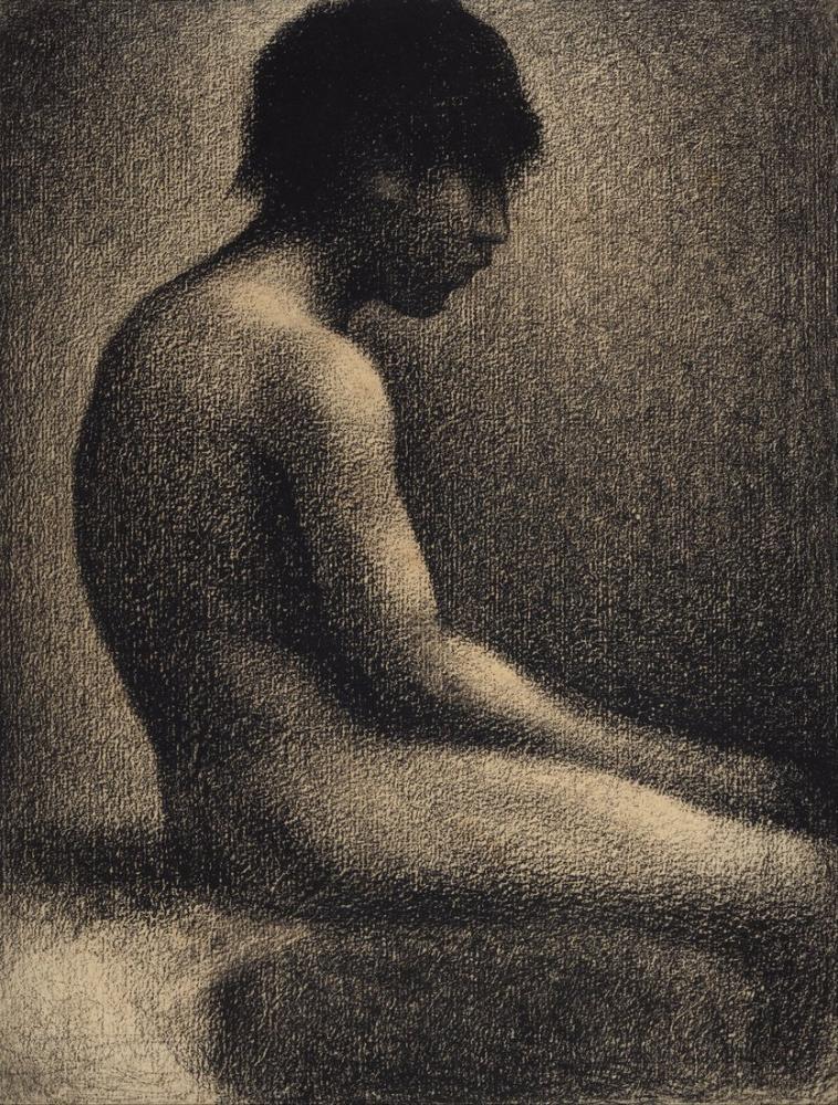 Georges Seurat,  Une Baignade  için Çıplak Çalışma Oturumu, Figür, Georges Seurat, kanvas tablo, canvas print sales