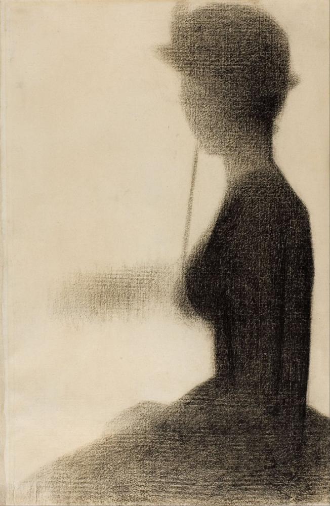 Georges Seurat, La Grande Jatte İçin Şemsiye Çalışması ile Oturan Kadın, Figür, Georges Seurat, kanvas tablo, canvas print sales