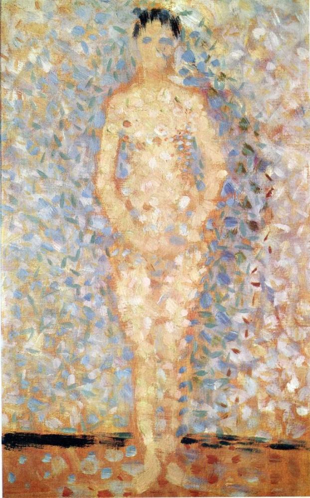 Georges Seurat, Les Poseuses İçin Ayakta Model Çalışması, Figür, Georges Seurat, kanvas tablo, canvas print sales