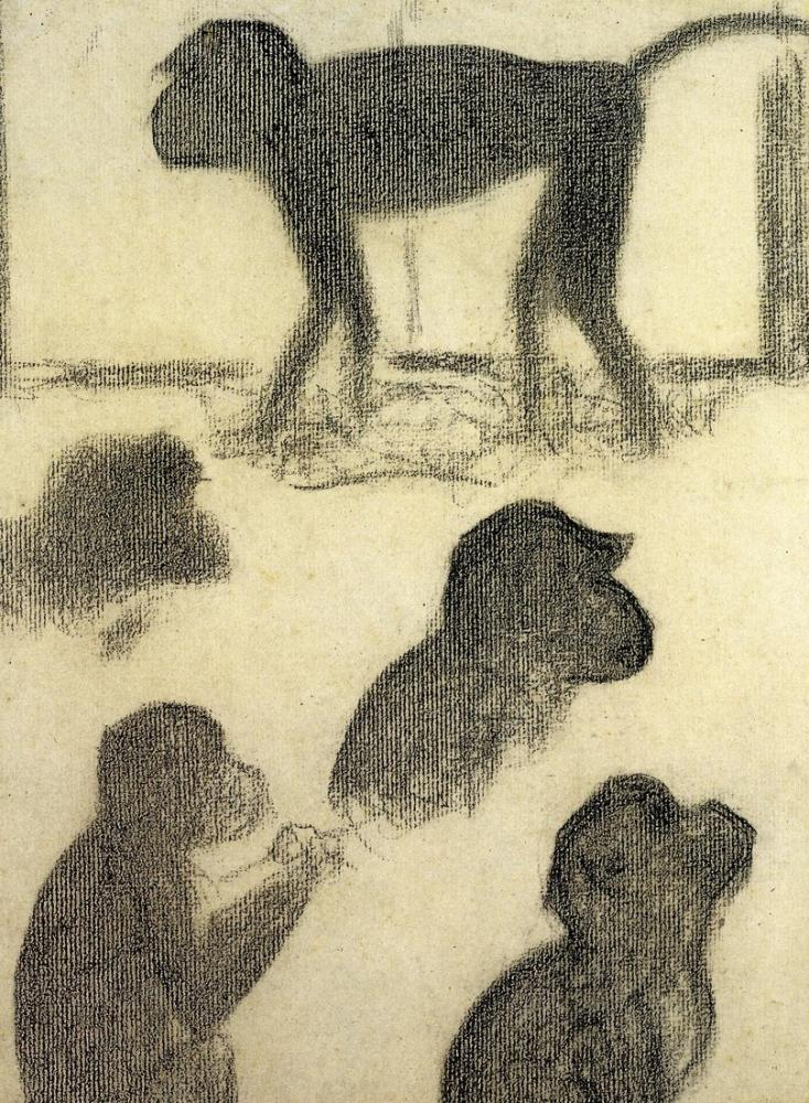 Georges Seurat, La Grande Jatte için Maymun Atölyesi, Figür, Georges Seurat, kanvas tablo, canvas print sales
