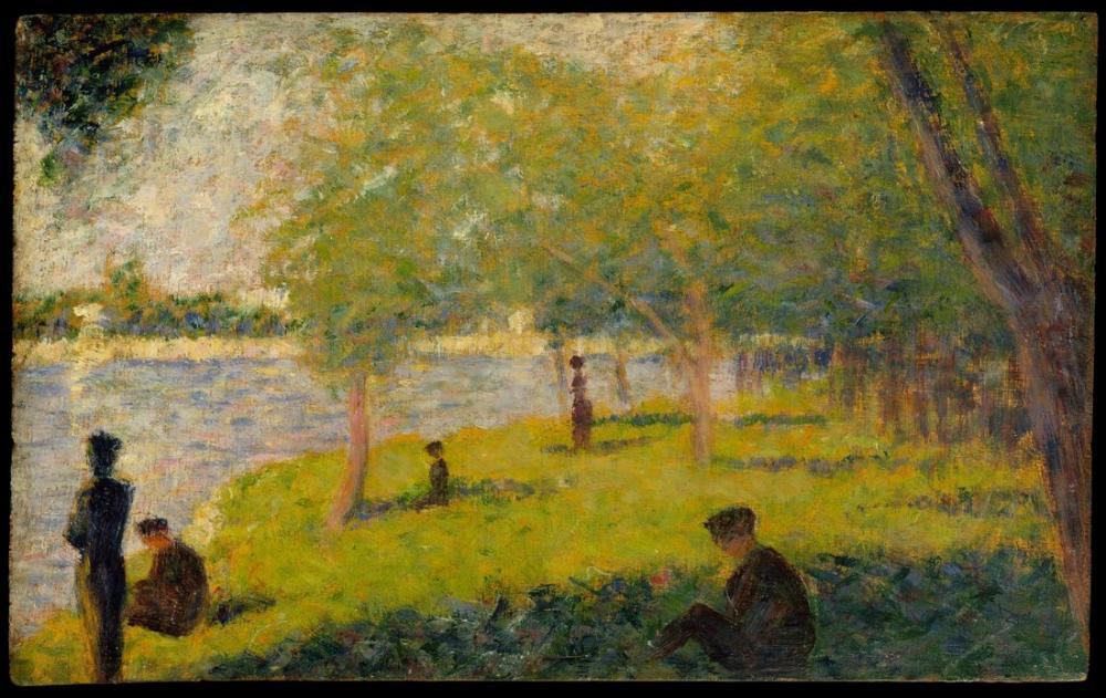 Georges Seurat, La Grande Jatte de Bir Pazar Günü Çalışması, Figür, Georges Seurat, kanvas tablo, canvas print sales