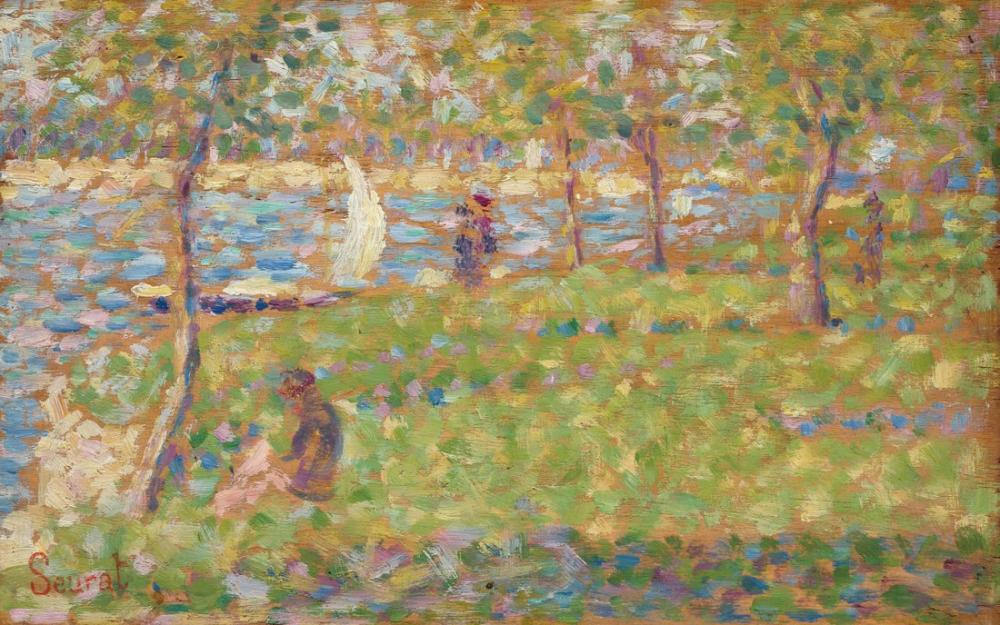 Georges Seurat, La Grande Jatte için Çalışma, Figür, Georges Seurat, kanvas tablo, canvas print sales
