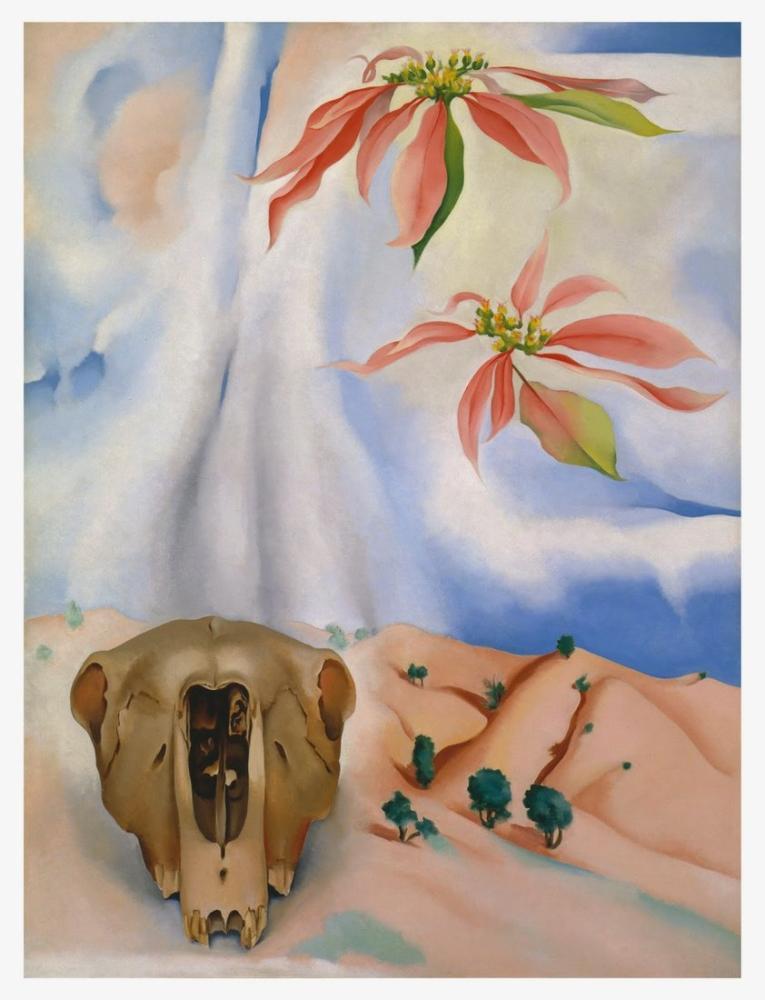 Georgia O Keeffe, Pembe Atatürk Çiçeği ile Katırın Kafatası, Kanvas Tablo, Georgia O Keeffe, kanvas tablo, canvas print sales