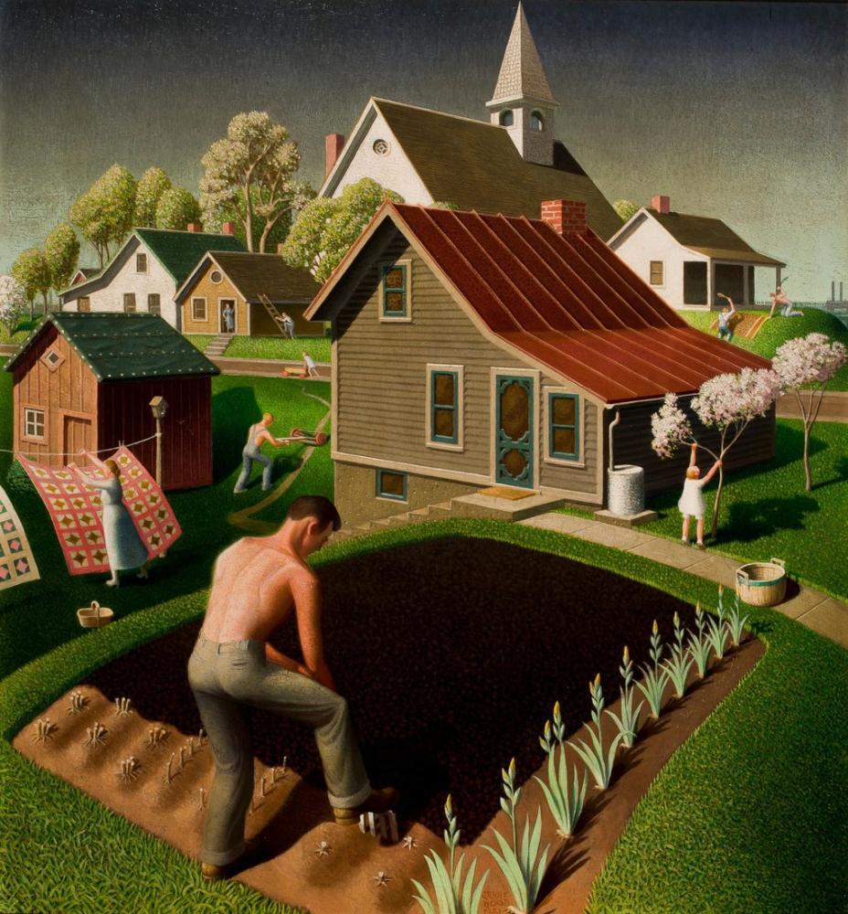Grant Wood Spring In Town 1941, Regionalism, Grant Wood, kanvas tablo, canvas print sales