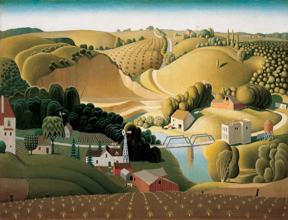 Grant Wood Stone City Iowa, Rejyonalizm, Grant Wood, kanvas tablo, canvas print sales
