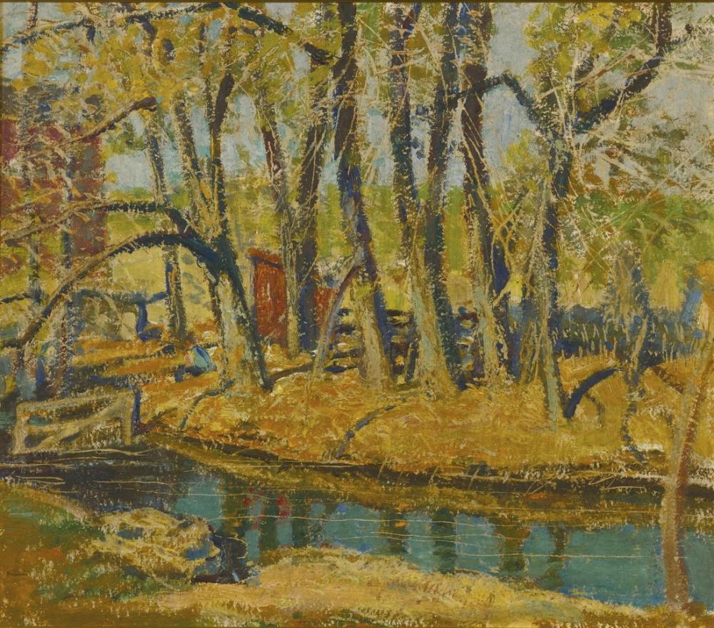 Grant Wood Trees On Indian, Regionalism, Grant Wood, kanvas tablo, canvas print sales