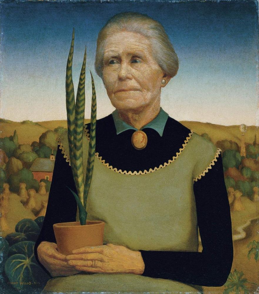 Grant Wood Bitkileri Olan Kadın, Rejyonalizm, Grant Wood, kanvas tablo, canvas print sales