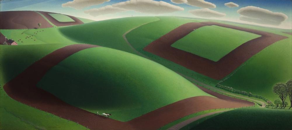 Grant Wood Spring Turning, Regionalism, Grant Wood, kanvas tablo, canvas print sales