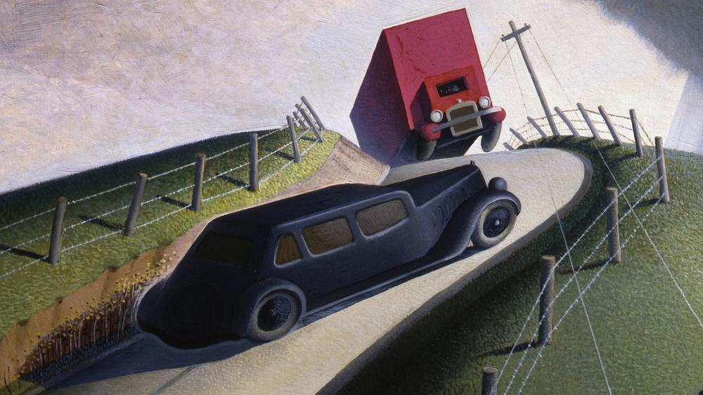 Grant Wood Death On The Ridge Road, Regionalism, Grant Wood, kanvas tablo, canvas print sales