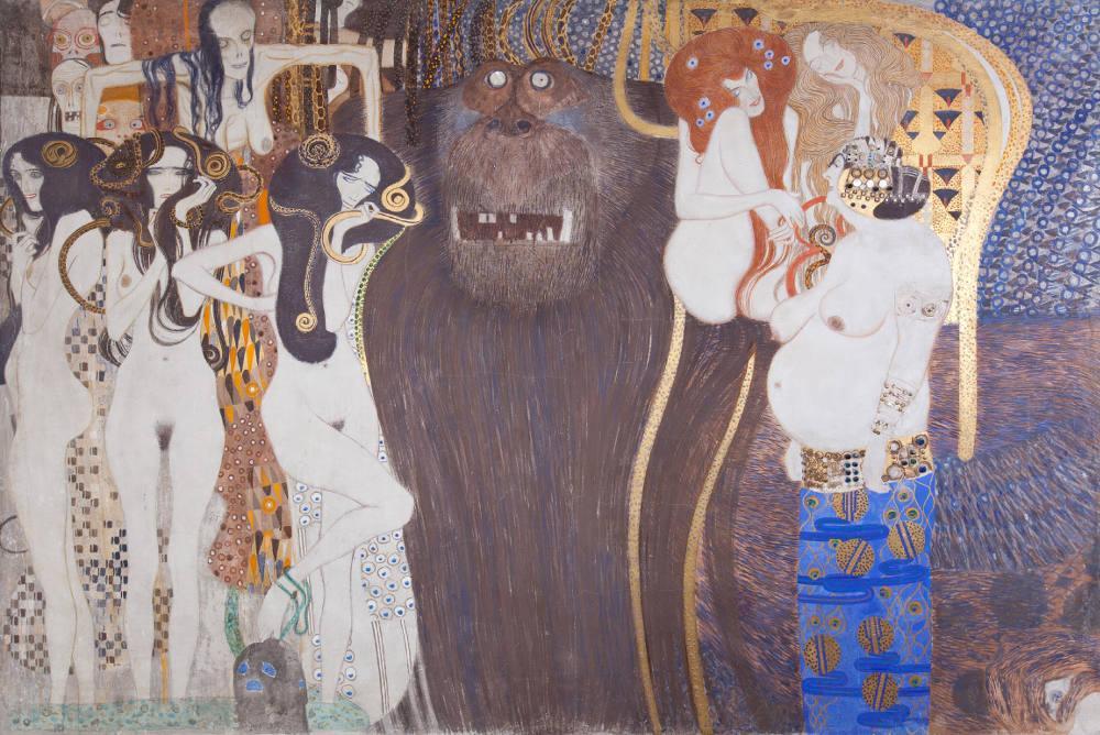 Gustav Klimt, Beethovenfries Düşman Güçler, Figür, Gustav Klimt, kanvas tablo, canvas print sales