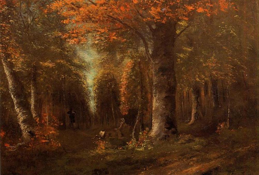 Gustave Courbet The Forest In Autumn Oil Painting, Canvas, Gustave Courbet, kanvas tablo, canvas print sales