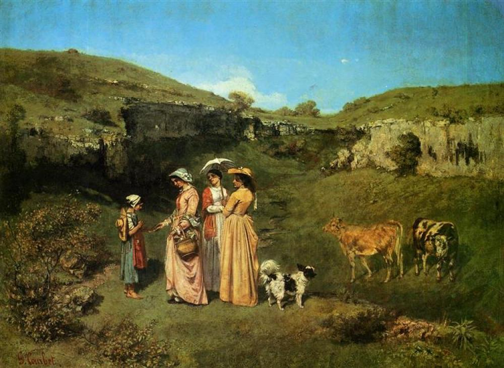 Gustave Courbet The Village Maidens Yağlıboya Tablo, Kanvas Tablo, Gustave Courbet, kanvas tablo, canvas print sales