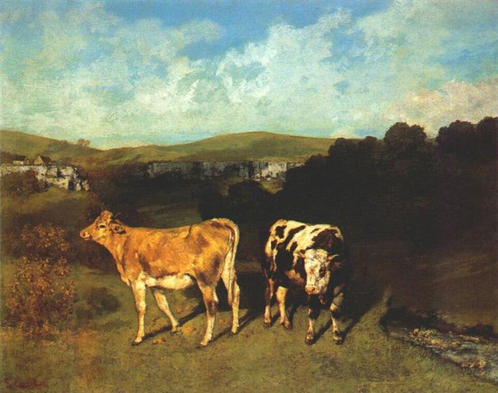 Gustave Courbet Beyaz Boğa ve Sarışın Düve, Kanvas Tablo, Gustave Courbet, kanvas tablo, canvas print sales