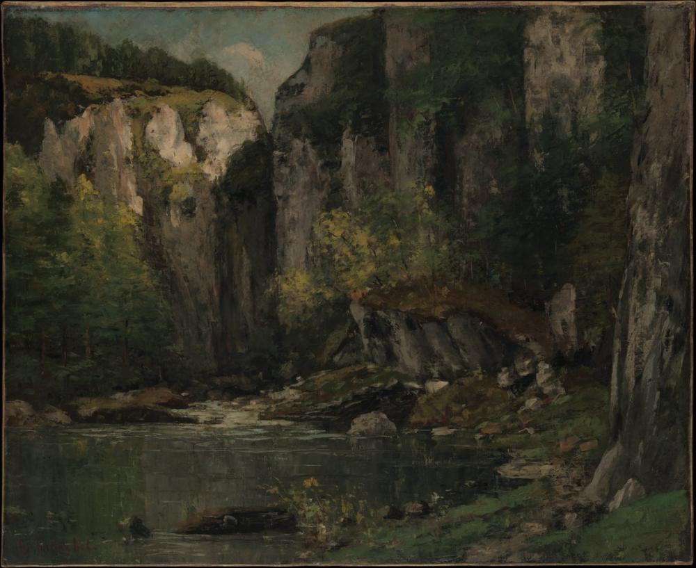 Gustave Courbet River and Rocks, Canvas, Gustave Courbet, kanvas tablo, canvas print sales