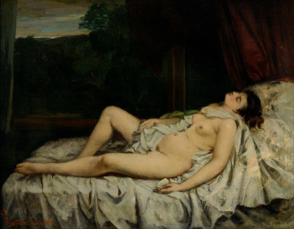 Gustave Courbet Sleeping Nude, Canvas, Gustave Courbet, kanvas tablo, canvas print sales