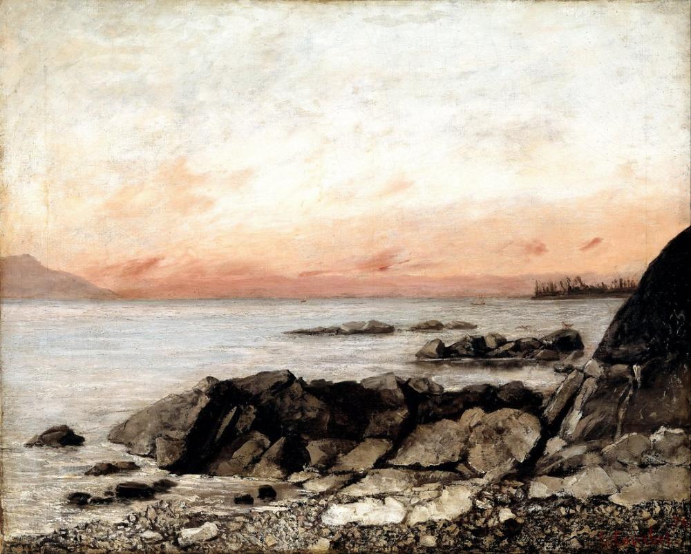 Gustave Courbet Günbatımı Vevey İsviçre, Kanvas Tablo, Gustave Courbet, kanvas tablo, canvas print sales