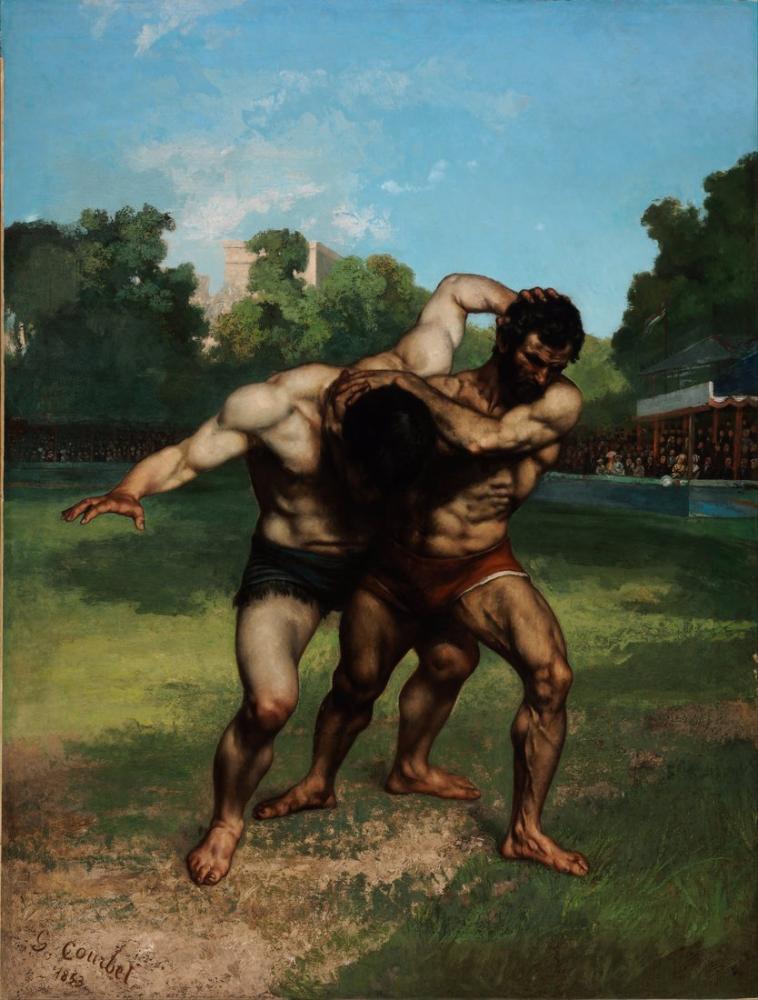 Gustave Courbet The Wrestlers, Canvas, Gustave Courbet, kanvas tablo, canvas print sales