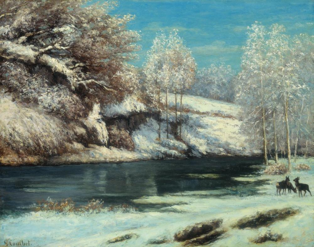 Gustave Courbet Winter Landscape, Canvas, Gustave Courbet, kanvas tablo, canvas print sales