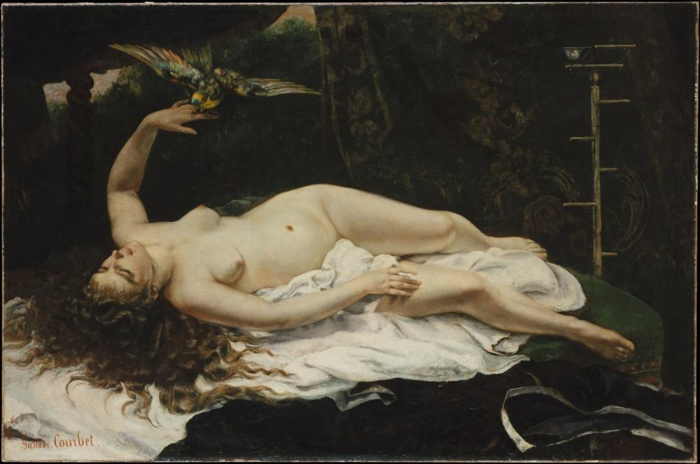 Gustave Courbet Woman with a Parrot, Canvas, Gustave Courbet, kanvas tablo, canvas print sales