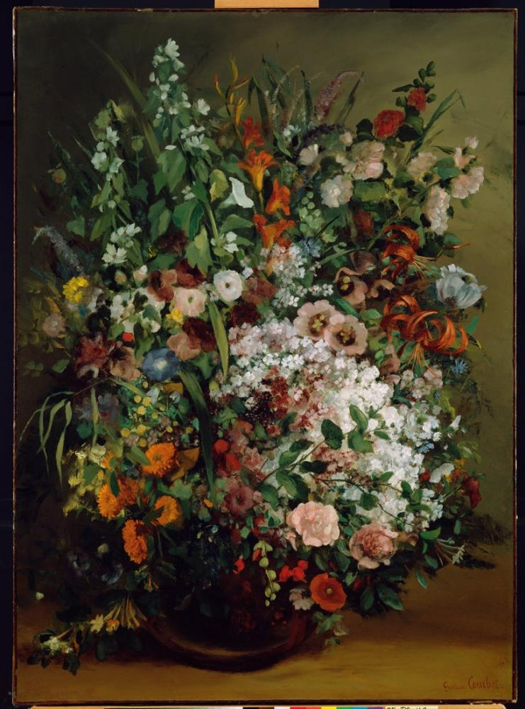 Gustave Courbet Bouquet of Flowers in a Vase, Canvas, Gustave Courbet, kanvas tablo, canvas print sales