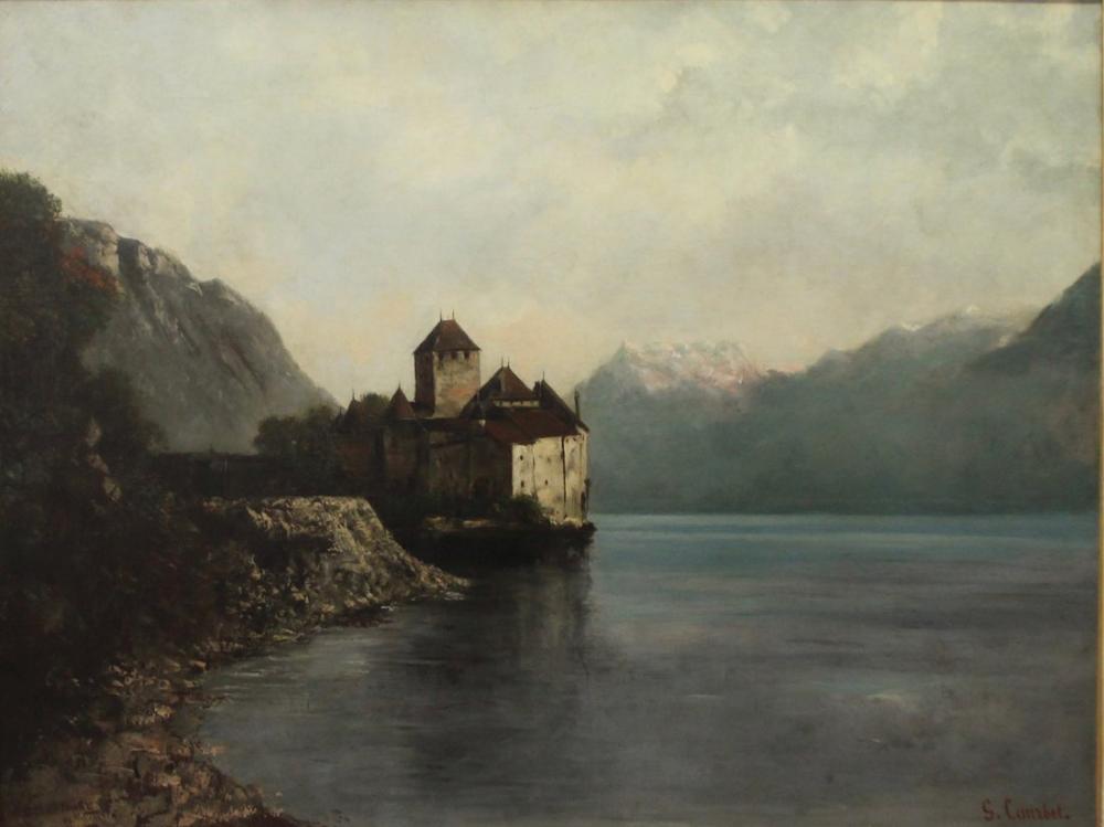 Gustave Courbet Chillon Kalesi, Kanvas Tablo, Gustave Courbet, kanvas tablo, canvas print sales