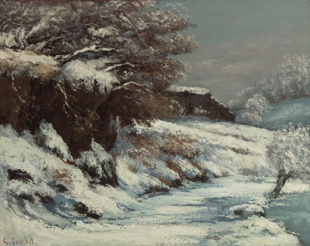 Gustave Courbet Effet De Neige, Canvas, Gustave Courbet, kanvas tablo, canvas print sales
