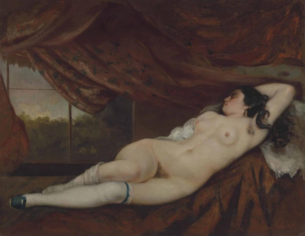Gustave Courbet Nude Woman Lying Down, Canvas, Gustave Courbet, kanvas tablo, canvas print sales