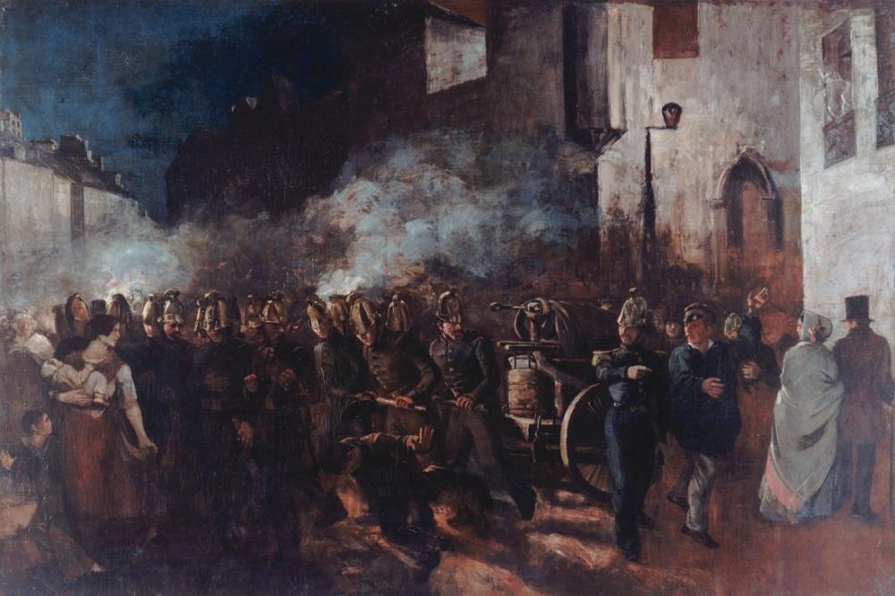 Gustave Courbet Firemen Running to a Fire, Canvas, Gustave Courbet, kanvas tablo, canvas print sales
