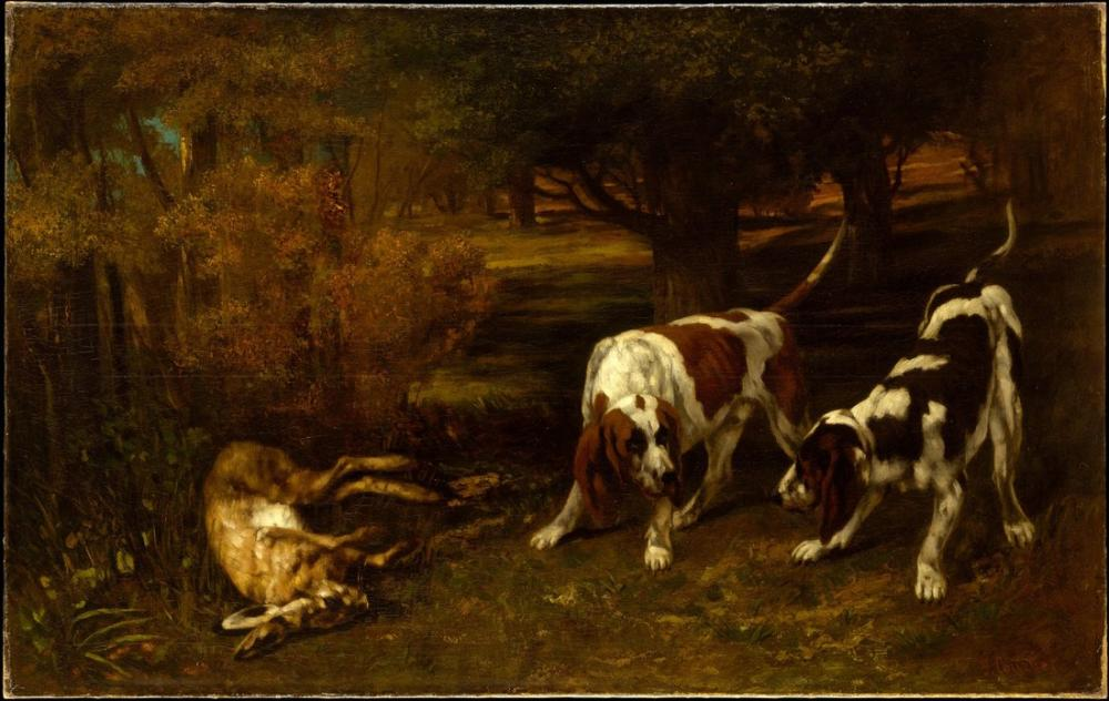 Gustave Courbet Hunting Dogs With Dead Hare, Canvas, Gustave Courbet, kanvas tablo, canvas print sales