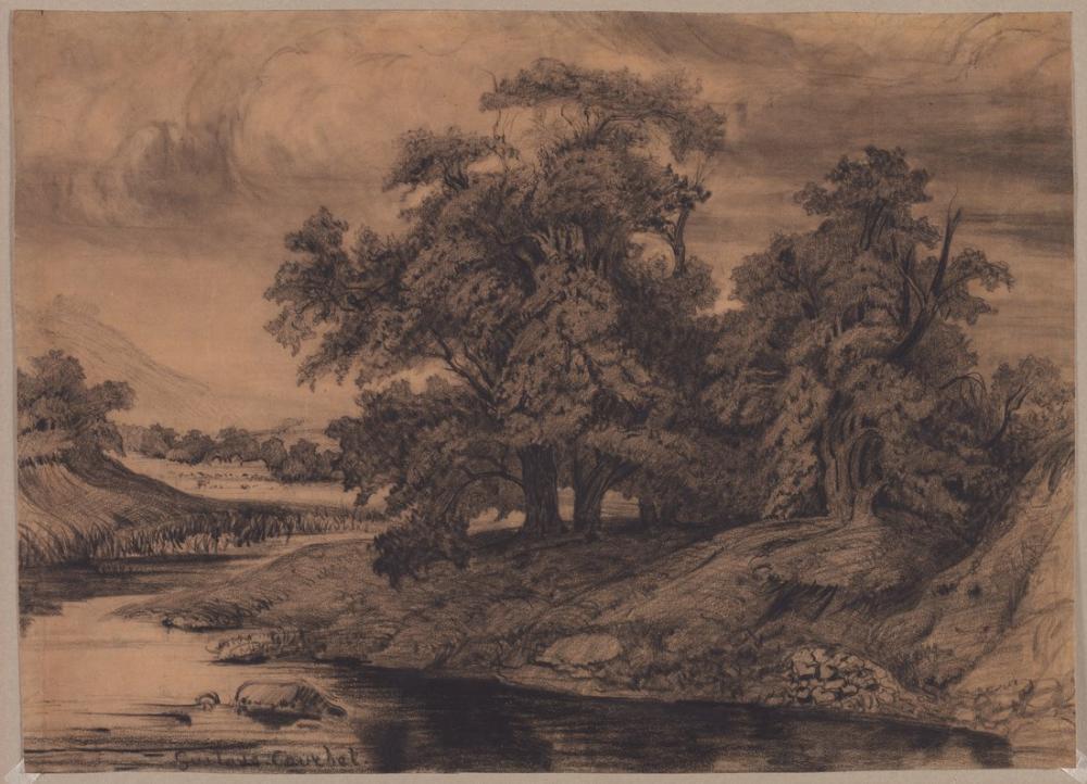 Gustave Courbet Büyük Ağaçlı Manzara, Kanvas Tablo, Gustave Courbet, kanvas tablo, canvas print sales