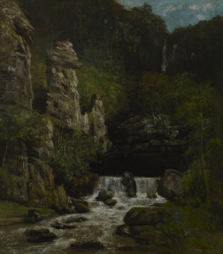 Gustave Courbet Şelale ile Manzara, Kanvas Tablo, Gustave Courbet, kanvas tablo, canvas print sales