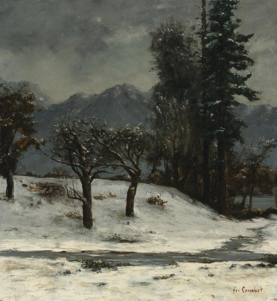 Gustave Courbet Neige, Canvas, Gustave Courbet, kanvas tablo, canvas print sales