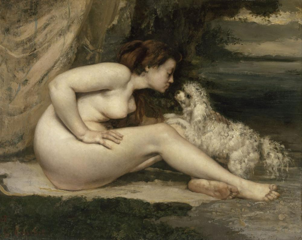 Gustave Courbet Nude Woman With A Dog, Canvas, Gustave Courbet, kanvas tablo, canvas print sales