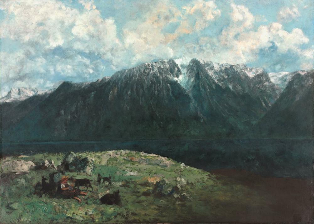 Gustave Courbet Alp Dağları Panoramik Görüntüsü Midi Dişleri, Kanvas Tablo, Gustave Courbet, kanvas tablo, canvas print sales