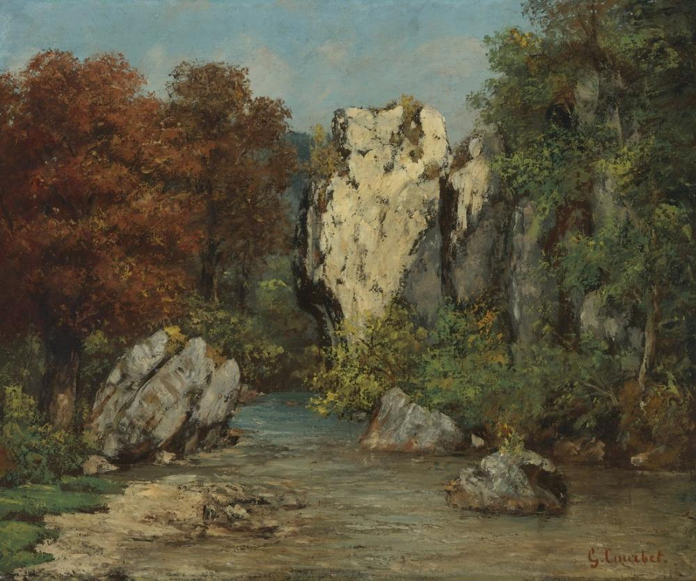 Gustave Courbet Dere ve Kaya Manzara, Kanvas Tablo, Gustave Courbet, kanvas tablo, canvas print sales