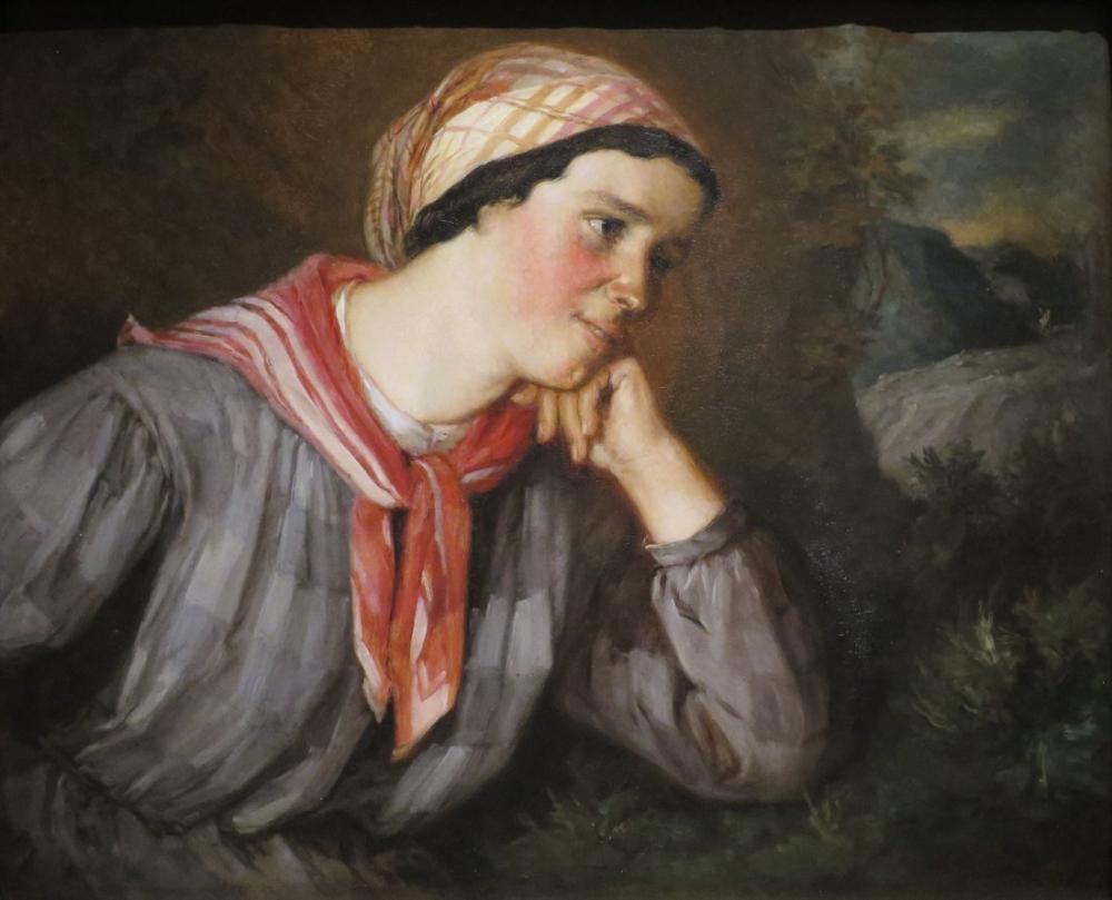 Gustave Courbet Bir Eşarp İle Köylü Kızı, Kanvas Tablo, Gustave Courbet, kanvas tablo, canvas print sales