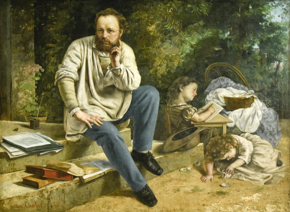 Gustave Courbet Pierre Joseph Proudhon and His Children, Canvas, Gustave Courbet, kanvas tablo, canvas print sales