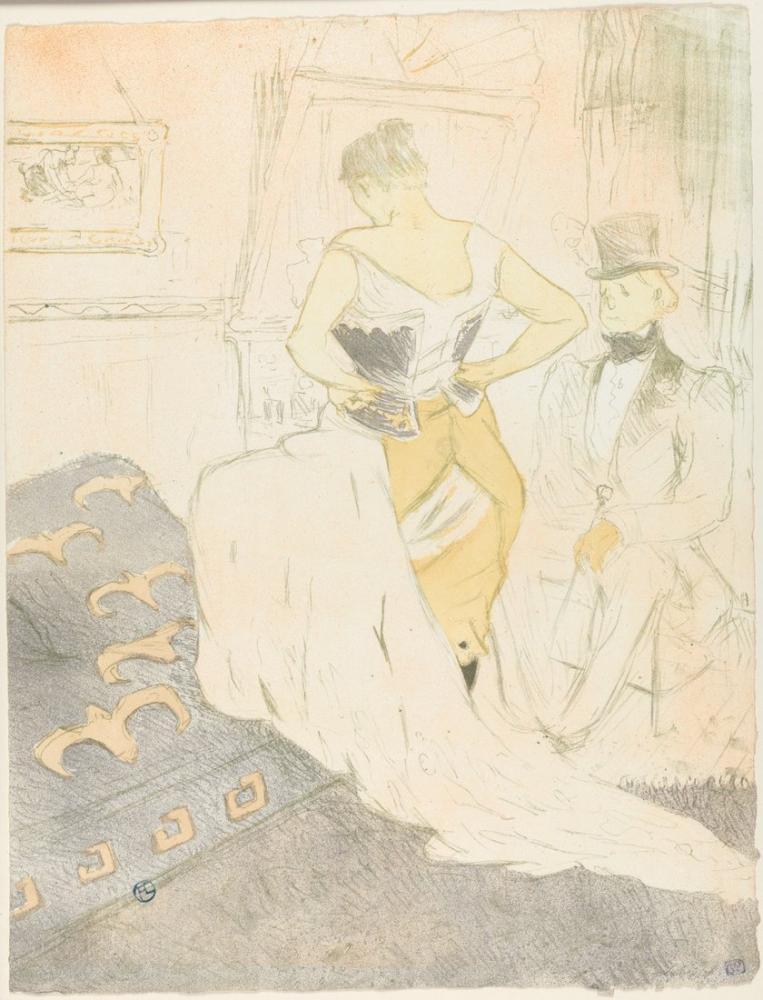 Henri De Toulouse Lautrec Elles Serisinden Korse A Geçme Fethi Bağlama, Kanvas Tablo, Henri de Toulouse-Lautrec, kanvas tablo, canvas print sales