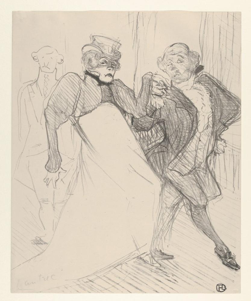 Henri De Toulouse Lautrec Rejane Ve Galipaux Madame Sans Gene, Figür, Henri de Toulouse-Lautrec, kanvas tablo, canvas print sales
