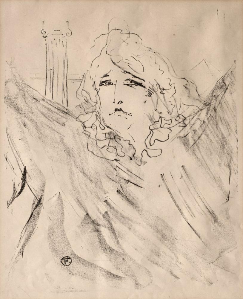 Henri De Toulouse Lautrec Portraits Of Actors And Actresses Thirteen Lithographs Sarah Bernhardt, Figure, Henri de Toulouse-Lautrec, kanvas tablo, canvas print sales