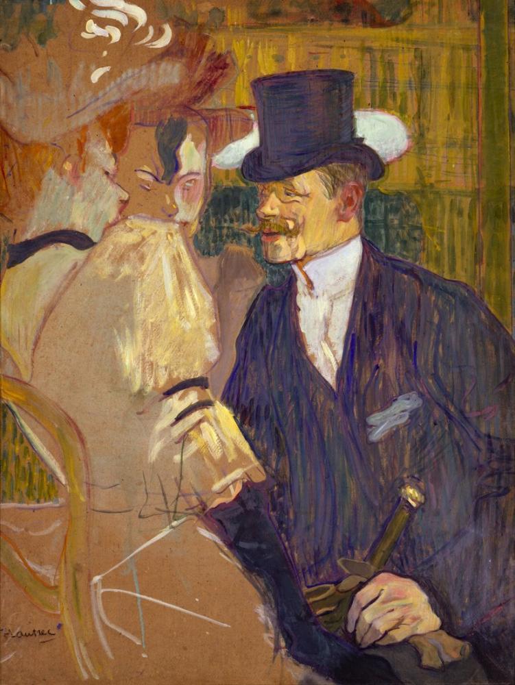 Henri De Toulouse Lautrec The Englishman At The Moulin Rouge, Figure, Henri de Toulouse-Lautrec, kanvas tablo, canvas print sales