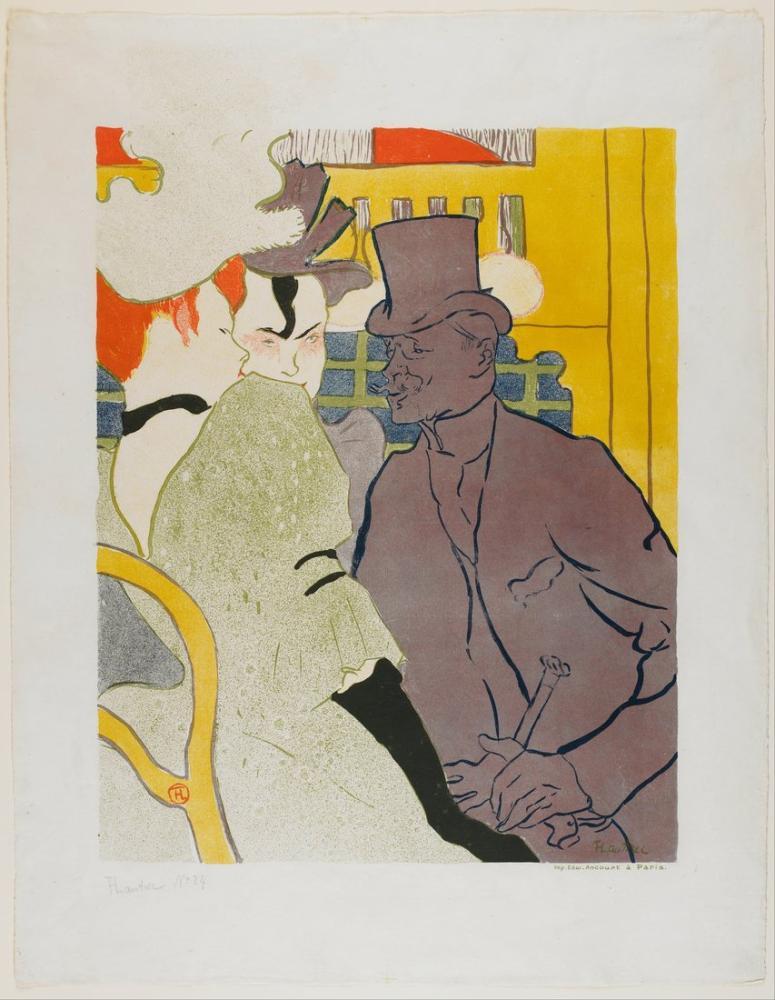 Henri De Toulouse Lautrec The Englishman At The Moulin Rouge II, Figure, Henri de Toulouse-Lautrec, kanvas tablo, canvas print sales