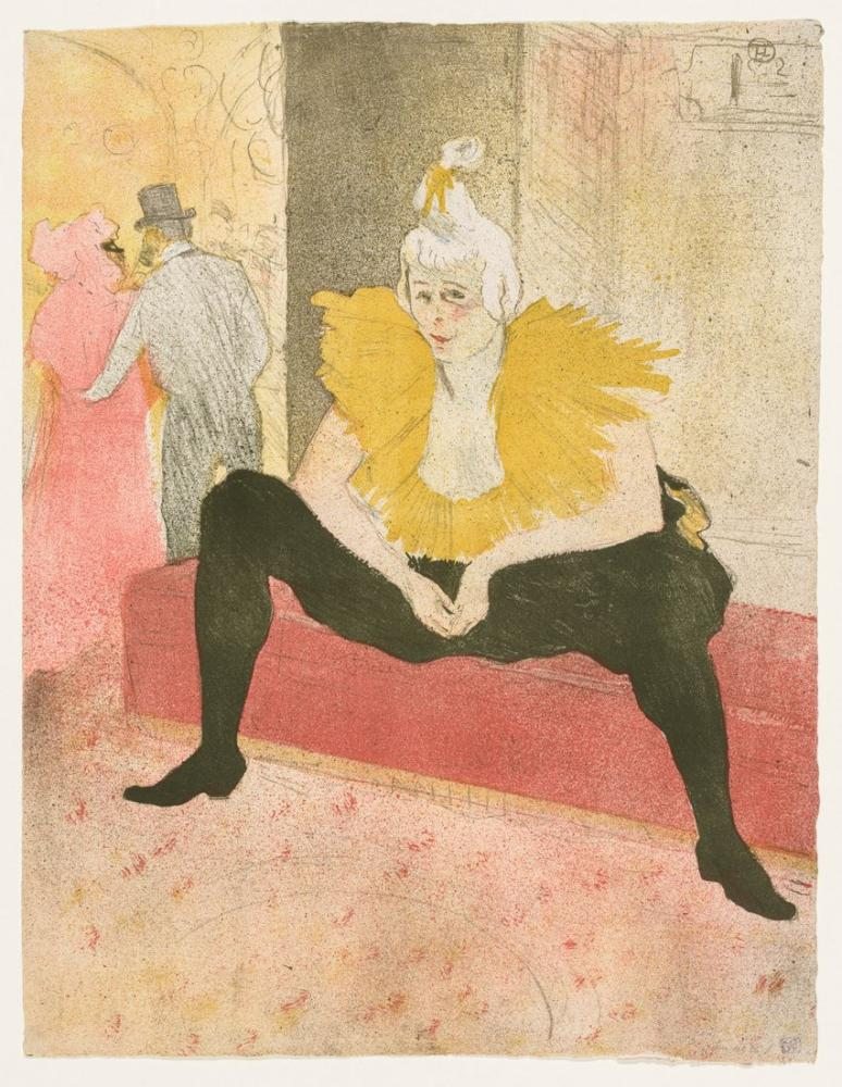 Henri De Toulouse Lautrec Elles The Seated Clown Mlle Cha u Ka o, Canvas, Henri de Toulouse-Lautrec, kanvas tablo, canvas print sales