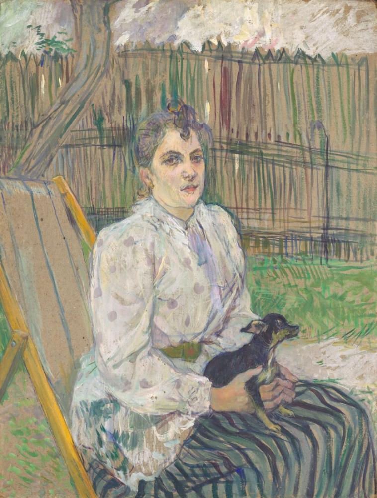 Henri De Toulouse Lautrec Köpek İle Bayan, Kanvas Tablo, Henri de Toulouse-Lautrec, kanvas tablo, canvas print sales