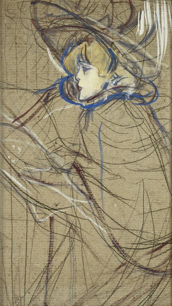 Henri De Toulouse Lautrec Profile Of Woman Jane Avril, Figure, Henri de Toulouse-Lautrec, kanvas tablo, canvas print sales